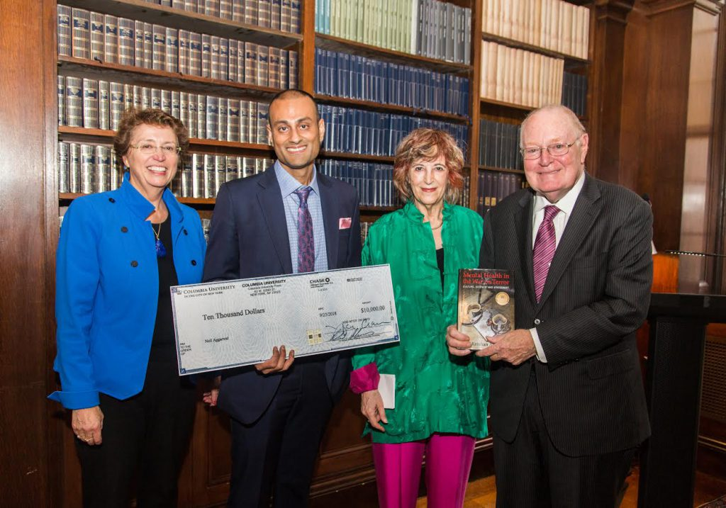 Pictured at the 2018 Columbia University Press Distinguished Book Award ceremony (from left to right): Jennifer Crewe, Associate Provost and Director Columbia University Press; Neil Krishan Aggarwal, Winner 2018 Columbia University Press Distinguished Book Award; Jane Gaines, Chair Faculty Publication Committee and Co-Chair Distinguished Book Award Jury; John Coatsworth, Provost, Columbia University.