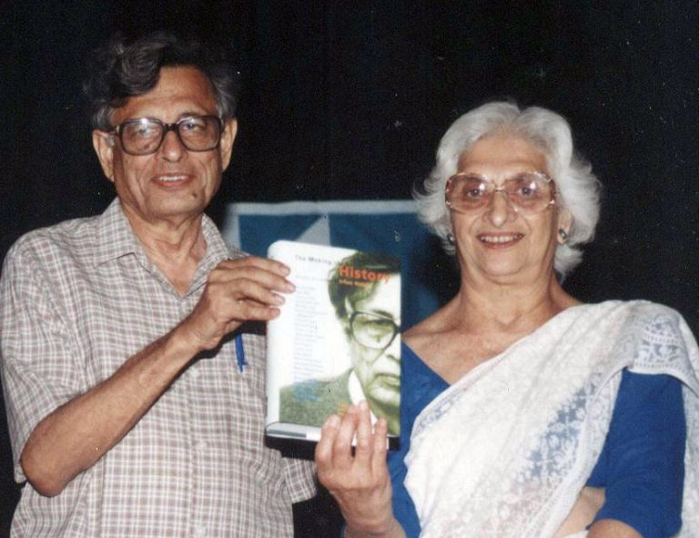 Irfan Habib and Kitty Menon at the book launch of The Making of History: Essays Presented to Irfan Habib (edited by K.N. Panikkar, Terence J. Byres and Utsa Patnaik), Delhi, August 2000