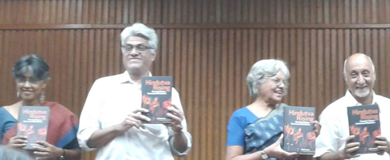 (Left to right) Nandini Sundar, Sukumar Muralidharan, Indira Jaising and Achin Vanaik, at the book launch of Hindutva Rising, Delhi, October 2017