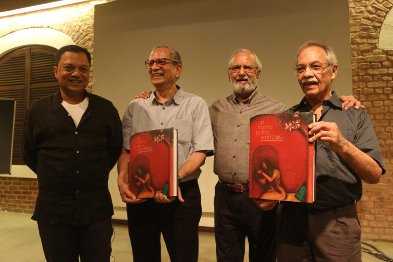 (Left to right) Chaitanya Sambrani, Sudhir Patwardhan, Gulammohammed Sheikh and Gieve Patel at the book launch of At Home in the World: The Art and Life of Gulammohammed Sheikh (edited by Chaitanya Sambrani), Mumbai, March 2019