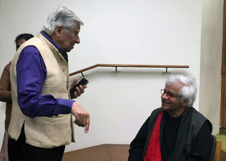 Krishen Khanna (standing) and Vivan Sundaram (seated) at the book launch of Vivan Sundaram Is Not a Photographer: The Photographic Work of Vivan Sundaram (by Ruth Rosengarten), Delhi, March 2019