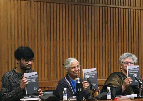 (Left to right) Sunil Choudhary, Madhu Sahni, Ayesha Kidwai at the launch of Displacement and Citizenship: Histories and Memories of Exclusion (edited by Vijaya Rao, Shambhavi Prakash, Mallarika Sinha Roy, Papori Bora), Delhi, March 2020