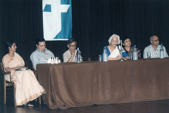 At the book launch of The Making of History: Essays Presented to Irfan Habib (edited by K.N. Panikkar, Terence J. Byres and Utsa Patnaik), Delhi, August 2000: (seated, left to right) Indira Chandrasekhar, N. Ram, Irfan Habib, Kitty Menon, Utsa Patnaik, K.N. Panikkar