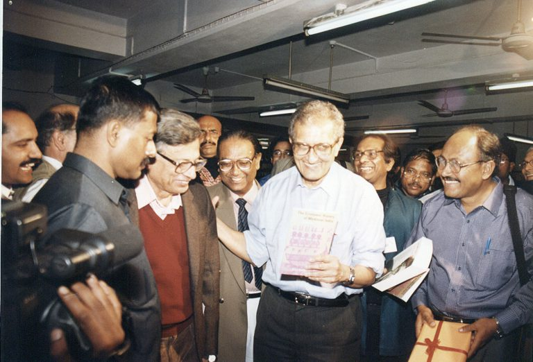 Irfan Habib and Amartya Sen at the Tulika Books stall, World Book Fair, Delhi