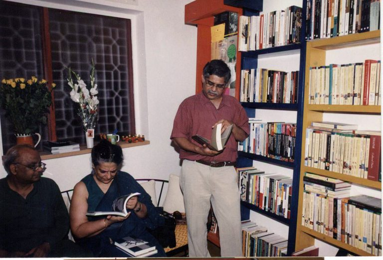 (Left to right) Rajendra Prasad, Geeta Kapur and C.P. Chandrasekhar at the opening of the Tulika Bookstore at Shahpur Jat, Delhi, 2002
