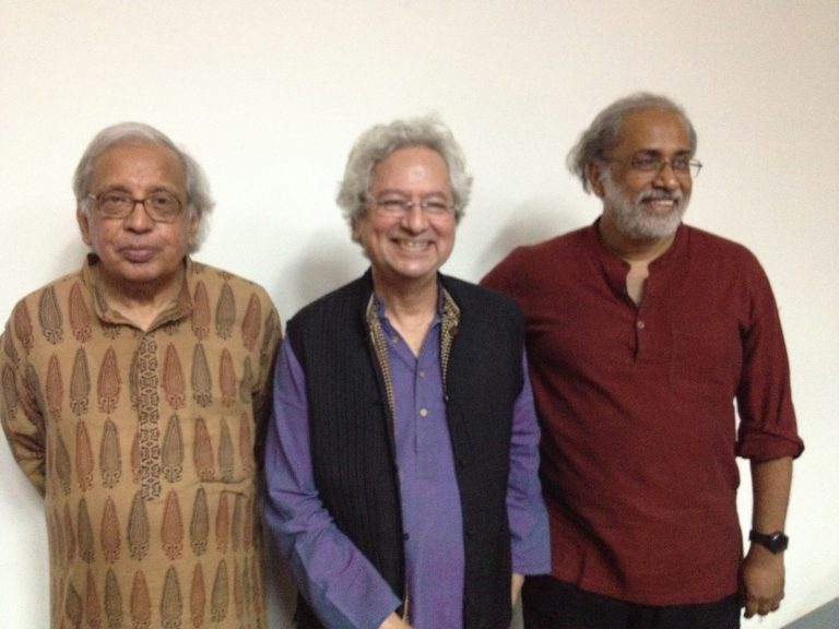 (Left to right) Ashok Vajpeyi, Kumar Shahani, Ashish Rajadhyaksha at the book launch of Kumar Shahani: The Shock of Desire and other essays (edited by Ashish Rajadhyaksha), Delhi, September 2015
